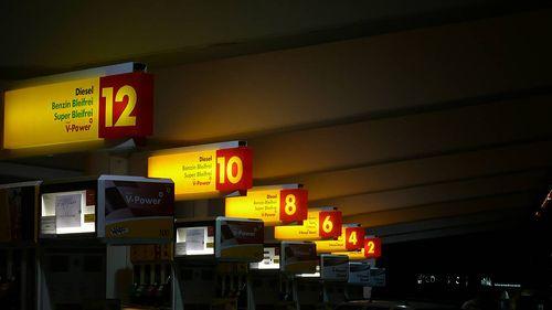 Säulen-Countdown an der Shell-Tankstelle (Henri Deterding: Shell-Gründer)