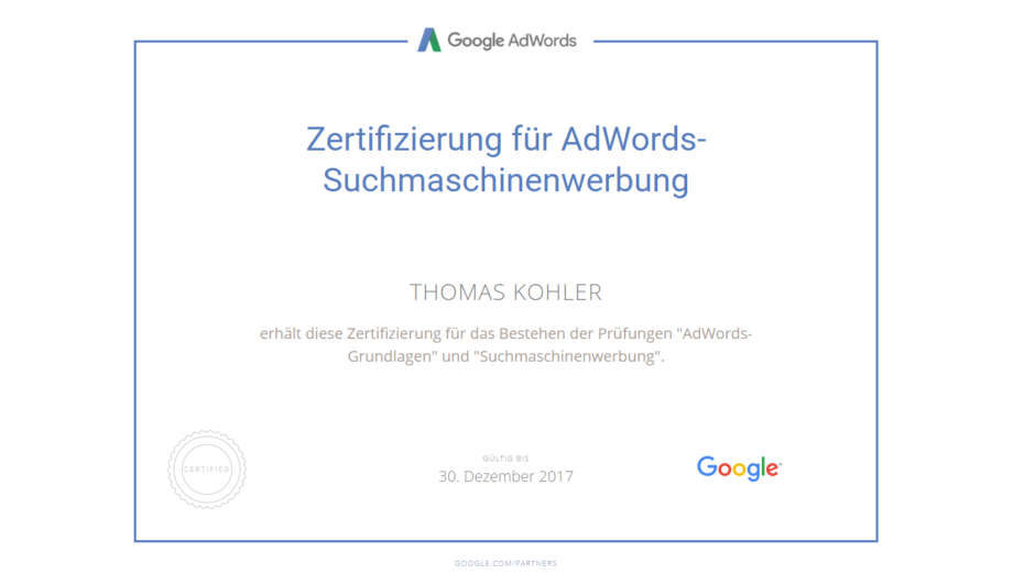 Google AdWords Zertifikat für Online-Experte Thomas Kohler